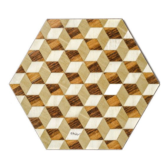6 Hexagon Placemats Geometric Cream Brown by EInderDesigns on Etsy
