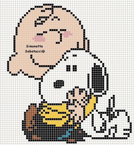 Snoopy and Charlie Brown - Peanuts perler bead pattern
