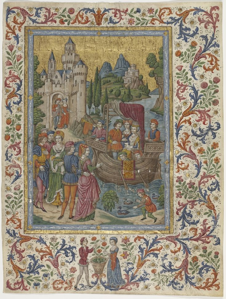 """An Illuminated Manuscript titled :Boating party setting forth from a castle"""" by The Spanish Forger. The work of the Spanish Forger, a skillful and prolific forger active around 1890 to 1910, probably French. From the Mitchell Library, State Library of New South Wales : http://library.sl.nsw.gov.au/search/t?[boating%20party%20setting&searchscope=2"""