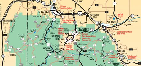 Black Hills Maps for Mt Rushmore, Sturgis, Custer State ...