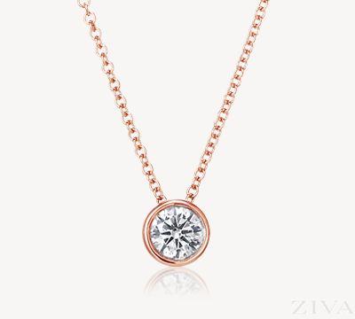 rose gold ketting met diamanten hanger