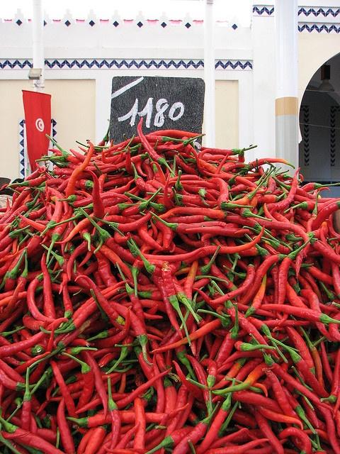 Marché de Tunis en Tunisie piments rouge Red Chili