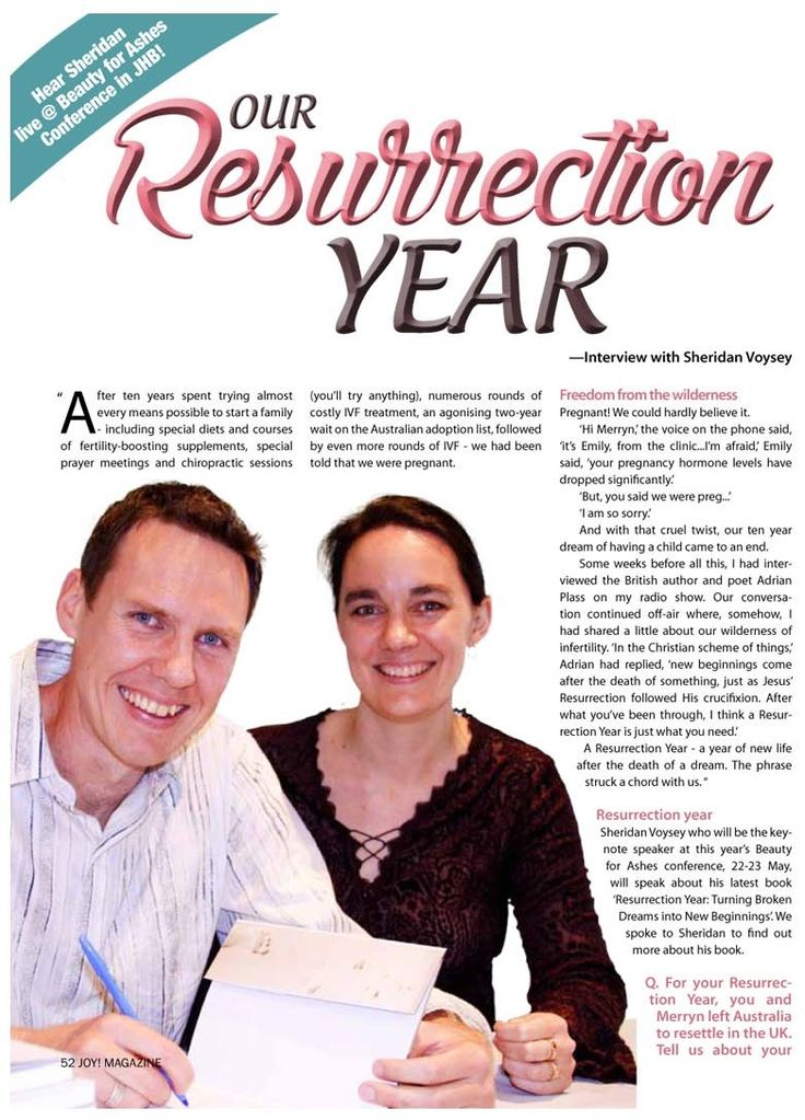 Article about Sheridan Voysey and BFA 2015 in the April 2015 issue of JOY! magazine. Read it here: http://beautyforashes.com/wp-content/uploads/2015/03/BFAResurrection-Year-.pdf