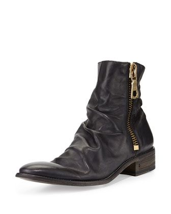 Richards Leather Zip Boot, Black by John Varvatos at Neiman Marcus.