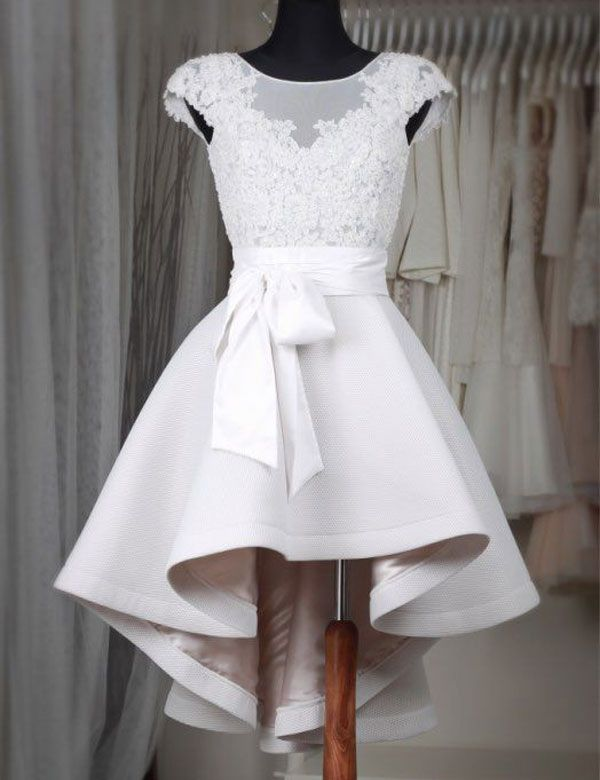 Modern Scoop Cap Sleeves Appliques High-low Homecoming Dress