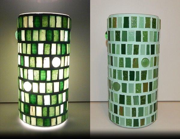GREEN EUPHORIA MOSAIC LAMP;  made of: glass mosaic; width: 11cm, height: 22cm; price: 61 EUR / 49 GBP / 69 USD;  © Gabor Abraham mosaic art