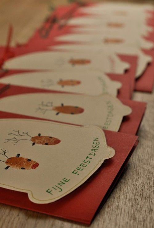 Onze kerstkaarten van dit jaar. Rendieridee gezien op welke.nl, maar nu met onze vingerafdrukken!