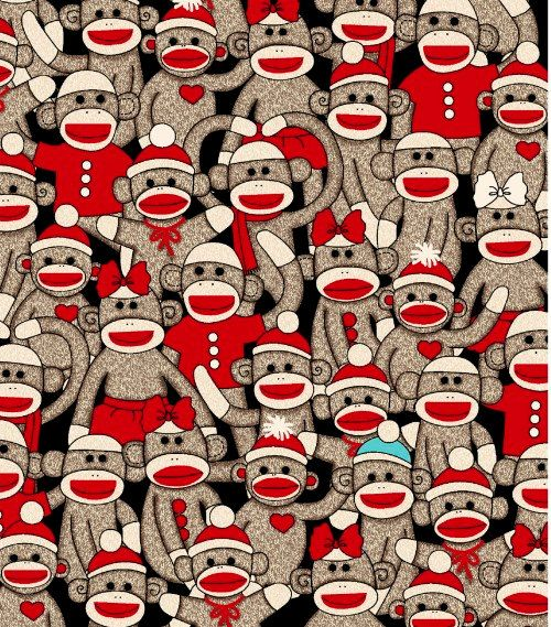 Socky Sock Monkey All Over Designer Fabric by by spiceberrycottage