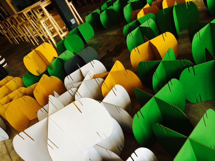 Mio culture dividers, green, white, yellow and gray used in the main hall at WareHouse D