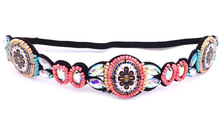 Metting Joura Vintage Bohemian Etnische Tribal Bloemenprint Steen Handgemaakte Elastische Hoofdband Haarband Ontwerp Haaraccessoires