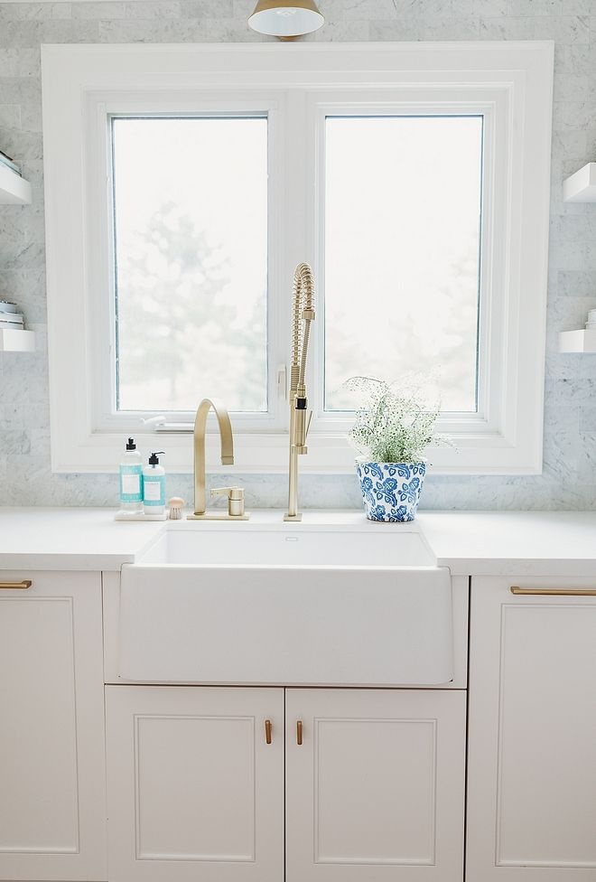 Brass Restaurant Style Faucet Kitchen Farmhouse Sink With Brass Industrial Faucet Rubine Kitchen Faucet Farmhouse White Kitchen Farmhouse Sink Bathroom Faucets