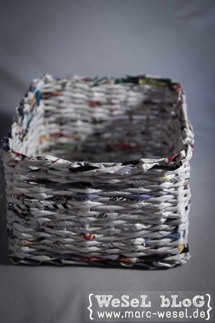 Zeitungsständer / Korb aus Papier – Upcycling Kurze Anleitung mit vielen Bildern wie man einen Korb bzw. einen Zeitungsständer aus Papier flechten kann. Tolles Paper Upcycling mit Spaßgarantie.