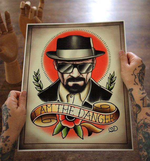 Heisenberg Tattoo Art Print di ParlorTattooPrints su Etsy