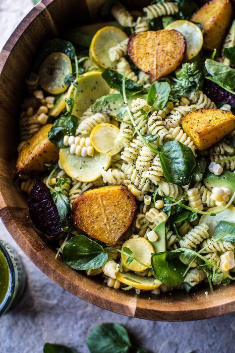 Basil Goat Cheese Pasta Salad   http://halfbakedharvest.com @hbharvest
