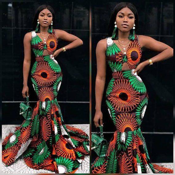 64996435a31d African print mermaid gown for women/ Dashiki women's clothing/ Ankara wedding  dress/ Wedding