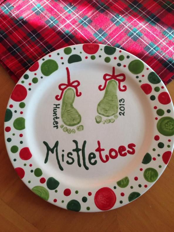 Christmas Mistletoes Baby Footprint Keepsake Plate