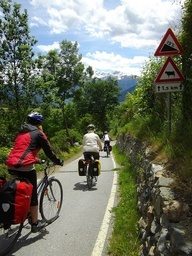 "Biking from the source of the Adige river in Verona along the ancient Roman road ""Via Claudia Augusta"""