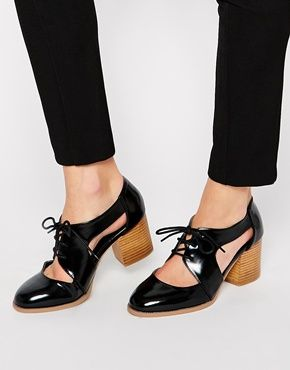 ASOS SOUTHBOUND Lace Up Heels #glossyblack #chunky