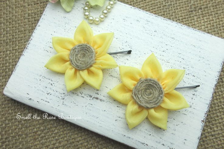 Rustic Sunflower Hairpin,Bridal Flower Hairpin,Flower Girl Hairpin,Wedding Accessories by smelltheroseboutique on Etsy https://www.etsy.com/listing/271255279/rustic-sunflower-hairpinbridal-flower