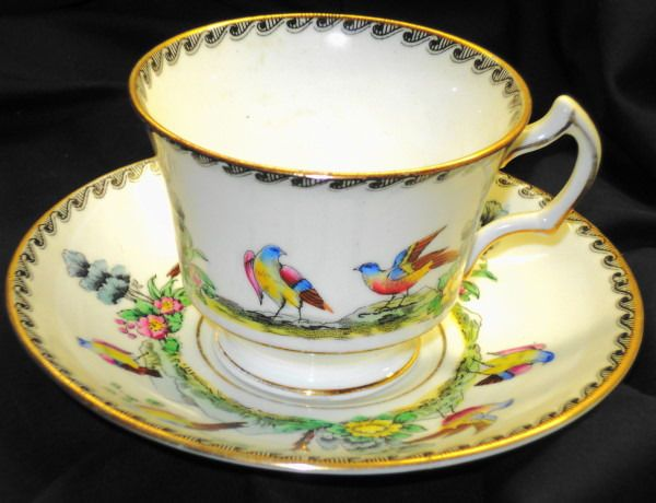 Royal stafford england ying yang bird art deco tea cup and for Deco ying yang