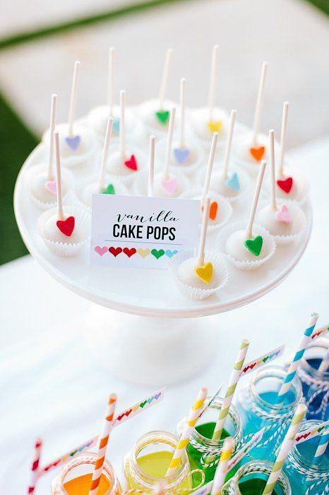 Cake Pops | A Sweet Rainbow-Heart Birthday Party | POPSUGAR Moms