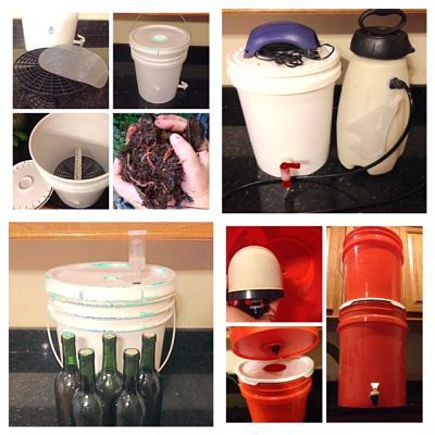 Just a few examples of the seemingly limitless amount of uses for a regular 5 gallon bucket! From Top Left: Vermicompost Bin, Compost Tea Brewer, Wine Brewing Bucket, Water Filtering System