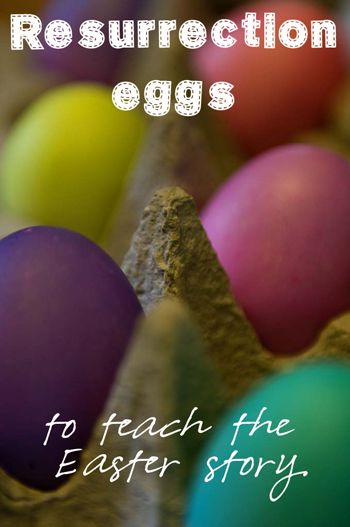 Resurrection eggs are a beautiful way to tell the Easter story. Each plastic egg contains a small object to remind kids of that piece of the story - dice, a donkey, and so on. Check it out!