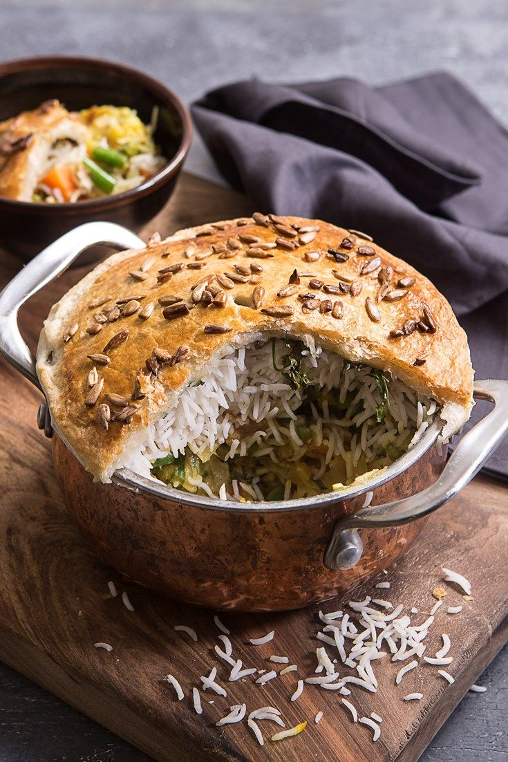 A vegetarian pie recipe from chef Peter Joseph, this biryani recipe combines two comfort foods in one – a vegetarian curry recipe and a hearty pie with puff pastry lid.