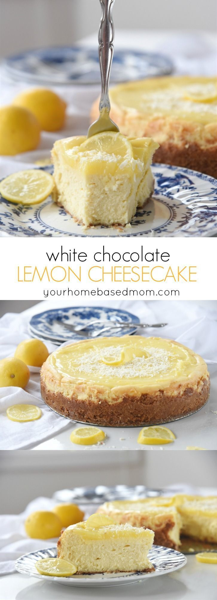 White Chocolate Lemon Cheesecake Dessert Recipe - perfect for Easter Brunch or dinner. White Chocolate Lemon Cheesecake is creamy and rich with a graham cracker crust and a lemon curd top!: