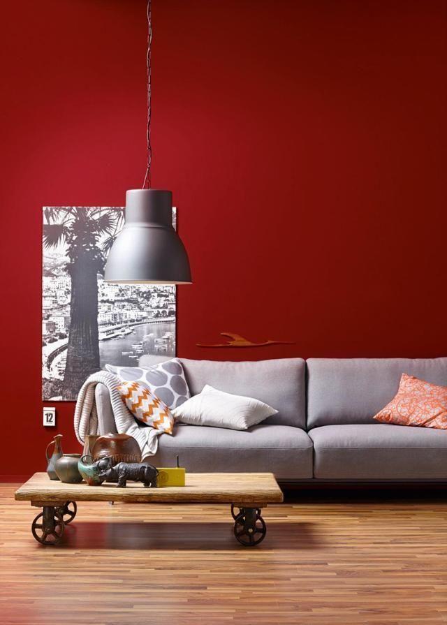 Amarena Schoner Wohnen Trendfarbe Wandfarbe Sofa Lampe Tisch Rotewandfarbe Schonerwohnenfarberot Schoner Wohnen Trendfarbe Schoner Wohnen Farbe