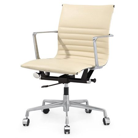Beige Italian Leather M346 Modern Office Chairs