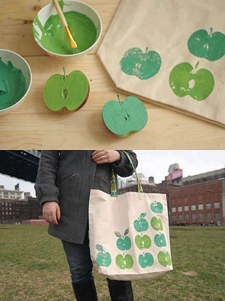 diy apple stamped tote bag