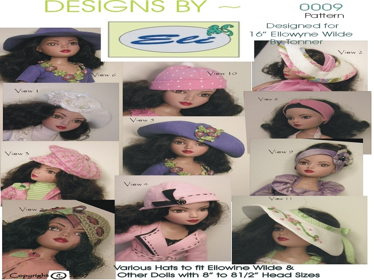 Pattern Includes Pattern Pieces & Detailed instructions to make the following 12 hats or head bands ~    Felt Tam     Open Brim Sun Hats    Sun Hat ~ Convertible Brim     Head Bands    Crochet Cloche    News' Boy Hat    Knit Stocking Hat    Felt Cloche