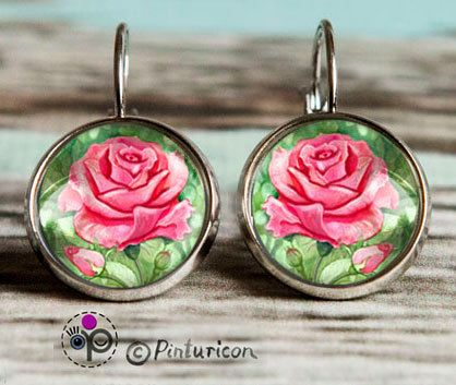 Cabochon Earrings Rose Earrings Dangle Jewelry Rose by Pinturicon