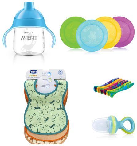 Un kit svezzamento pensato per bambini che stanno acquisendo autonomia, composto da: tazza con beccuccio Avent, 4 piattini piani, 6 cucchiaini, 3 bavaglini, 1 nibbler