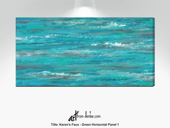 Turquoise gray and teal abstract, Long horizontal canvas wall art, over bed decor, above couch artwo