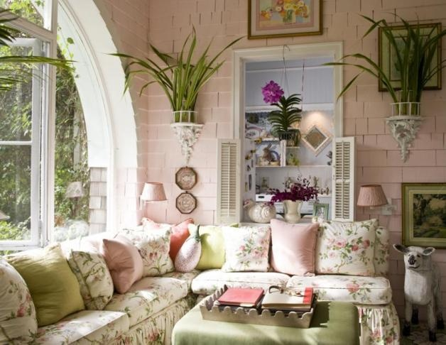 Celerie does a Palm Beach sunroom. Soft greens and pinks. Toned-down Lily Pulitzer!