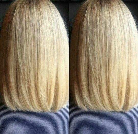 Well cut blonde shoulder length hair. Short medium haircut