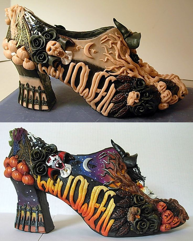 WOW....Halloween shoe in polymer clay/ HOW cool is this....sec