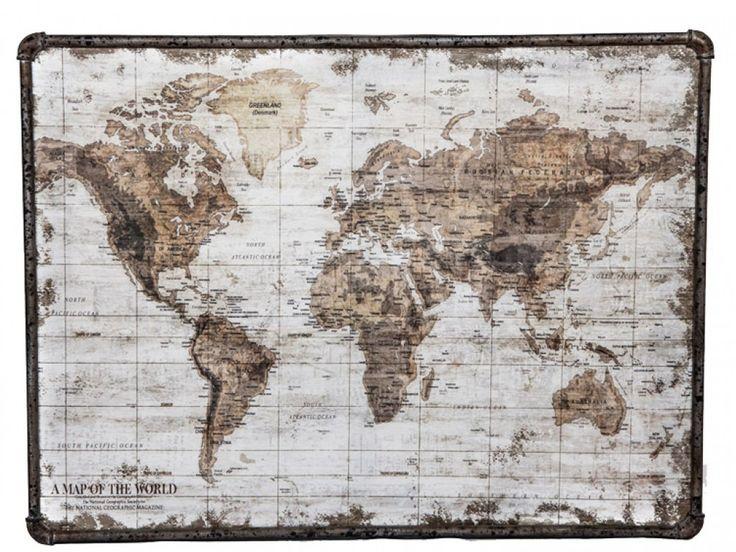 Wow gaaf! Wereldkaart van metaal met canvas