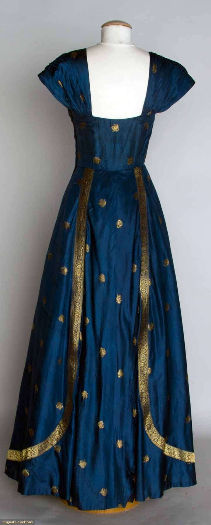 Blue & Gold Evening Dress - Blue silk taffeta with metallic gold brocade, made from an Indian sari - c. 1950 - Back View