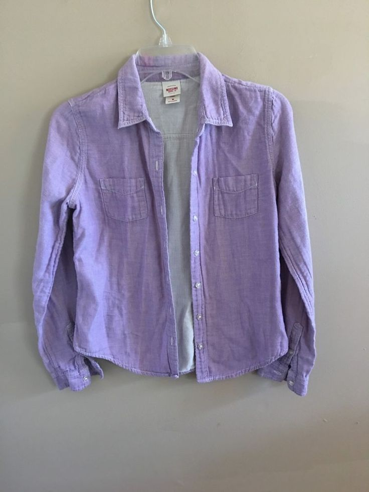 Mossimo Supply Co Lilac Lavender Purple Long Sleeve Button Up Shirt M Medium #Mossimo #ButtonDownShirt #Casual
