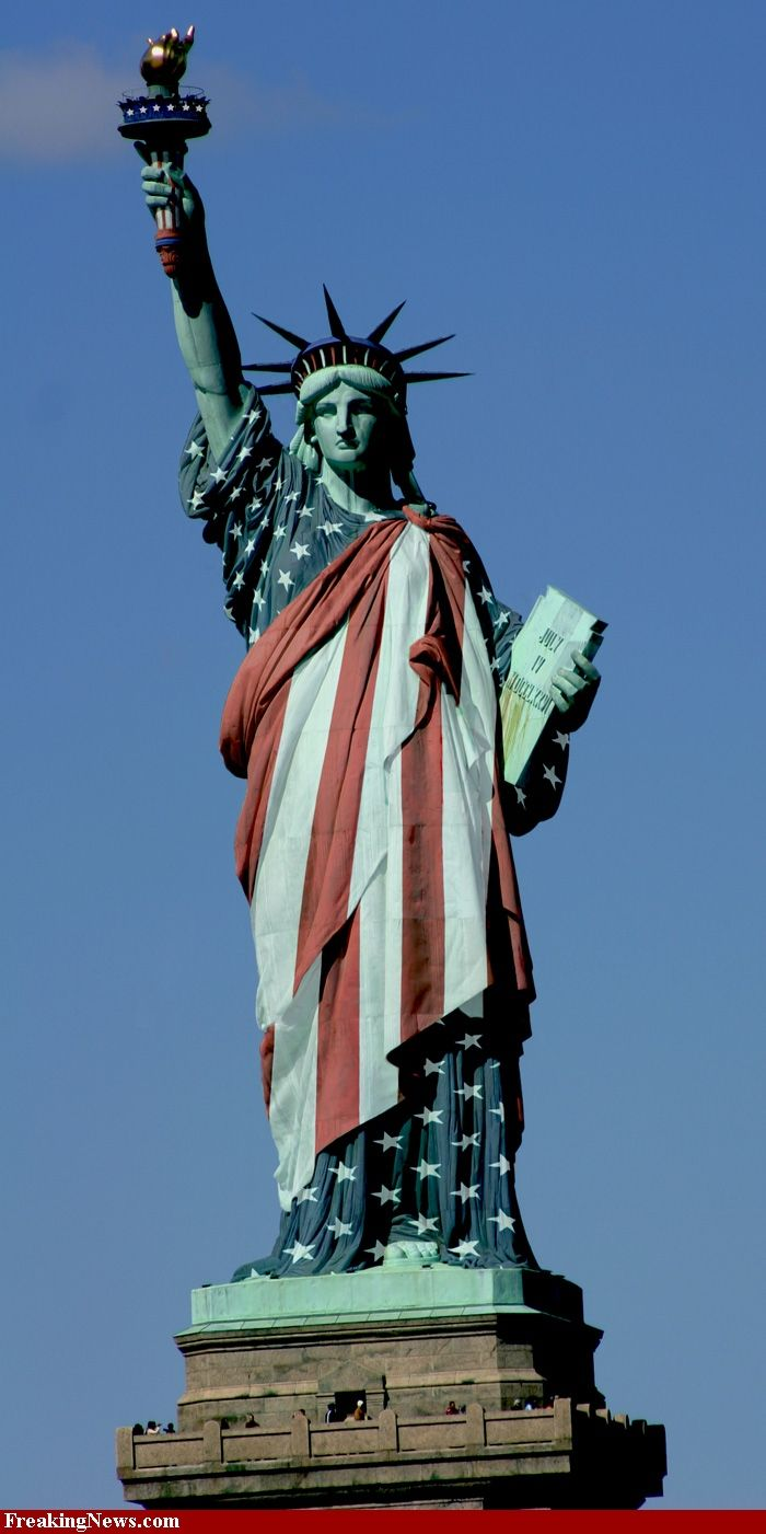 Statue of Liberty Dressed in the American Flag hi-res pictures
