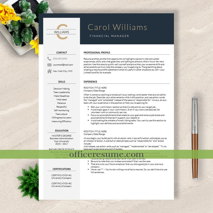 Modern Resume Template & Cover Letter + Icon Set for Microsoft Word