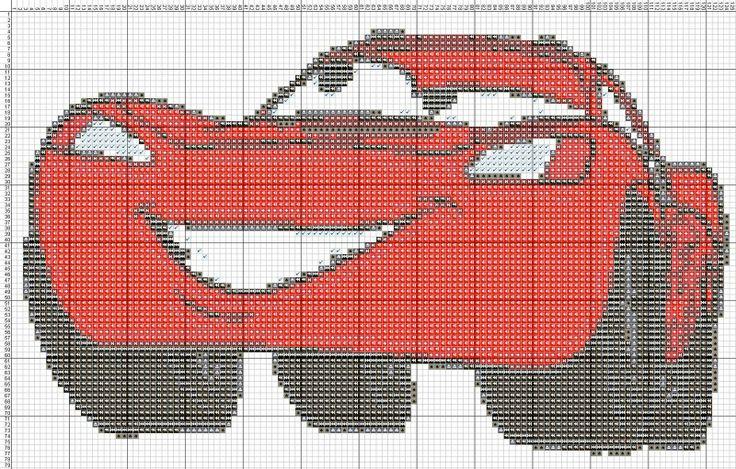 Free Minion Cross Stitch Pattern | Dibujos Punto de Cruz Gratis: Rayo mcqueen - Punto de crúz