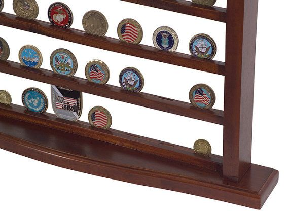 Military Challenge Coin Display Case  Solid Mahogany Wood