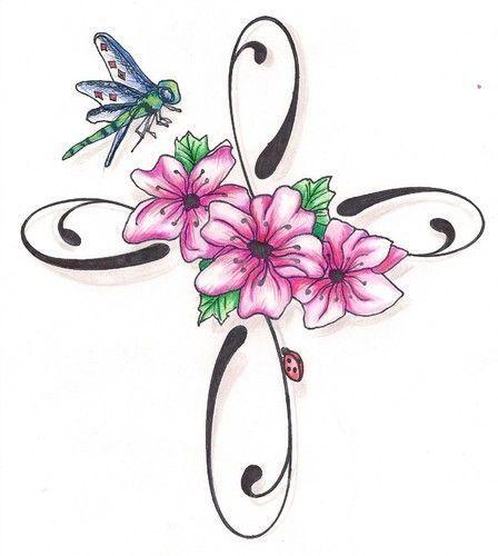 10 best cross and flower tattoos images on pinterest for Flower cross tattoo