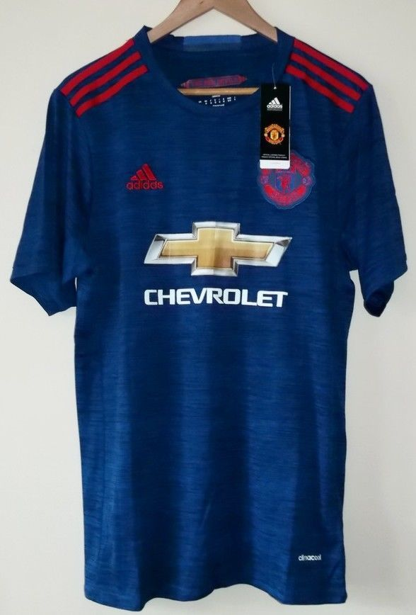 MANCHESTER UNITED 2016/17 NIKE Mens Size Medium Away Kit Football Jersey Shirt #Nike