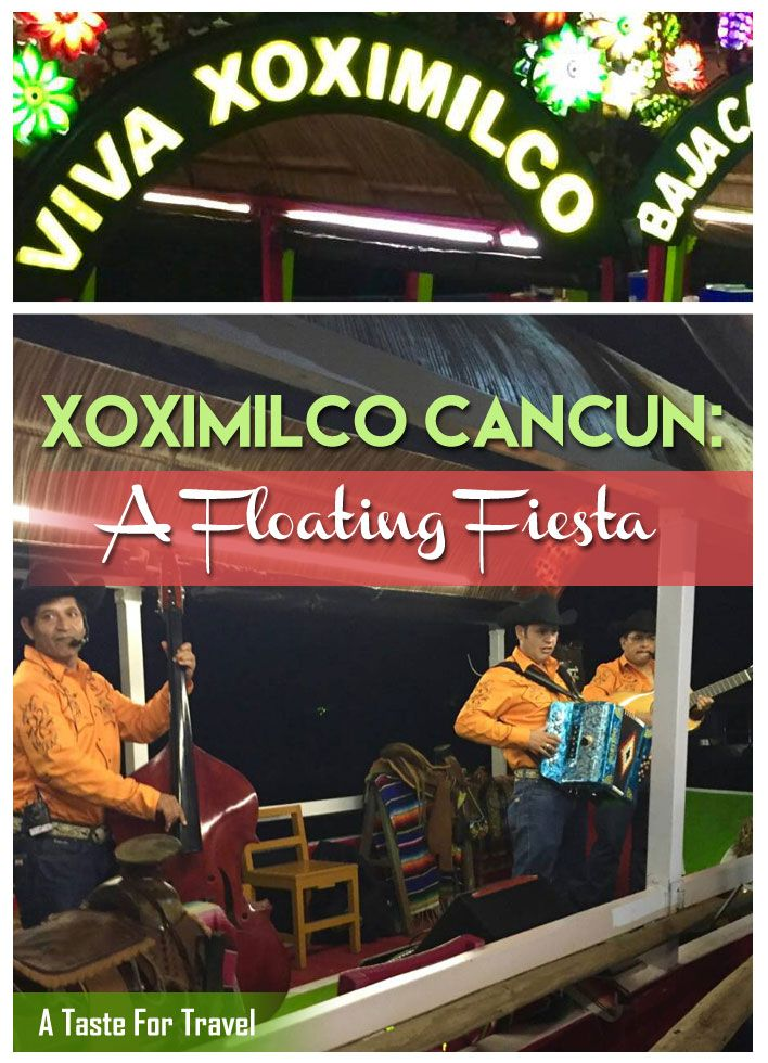 Taking a gondola ride through the floating gardens of Xoxomilco Cancun is one of the most fun things to do in Cancun #mexico You'll enjoy dancing, live music and food on this floating fiesta #cancun #honeymoon It's ideal for a wedding shower, girls or guys getaway or group outing as well as couples