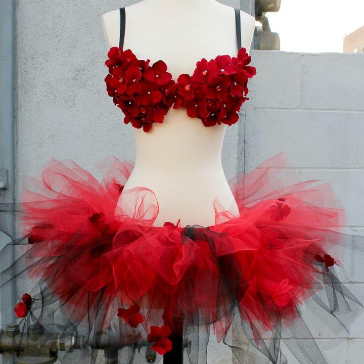 34B Red Hydrangea Rave Bra & Tutu~ https://www.etsy.com/shop/EverydayArmour